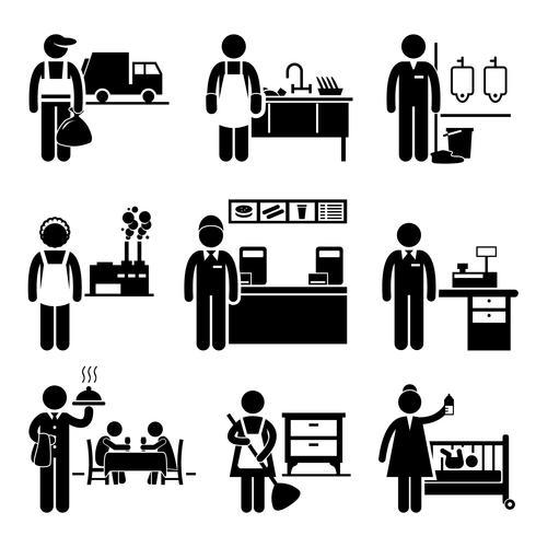Jobs mit niedrigem Einkommen Berufe Karriere. vektor
