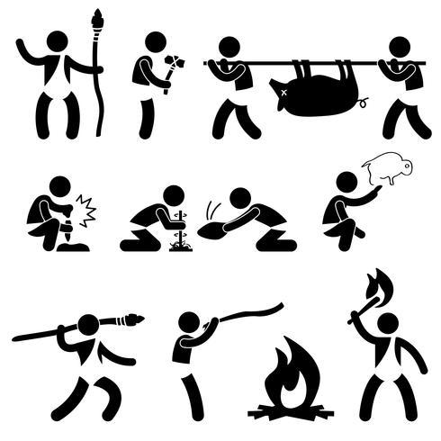 Ursprünglicher alter prähistorischer Höhlenbewohner-Mann-Mensch unter Verwendung des Werkzeug-und Ausrüstungs-Ikonen-Symbol-Zeichen-Piktogramms. vektor