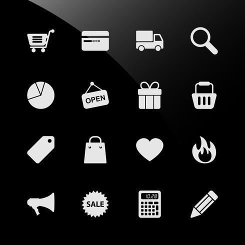 E-handel shopping webb ikoner. vektor