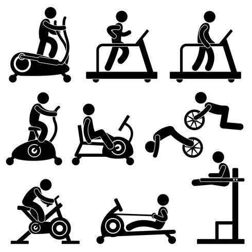 Sportliche Turnhalle Gymnasium Fitness-Übungstraining. vektor