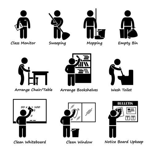 Klassenzimmer Student Duty Roster Strichmännchen Piktogramm Ikone Clipart. Eine Reihe von Piktogrammen, die Klassenzimmer-Dienstplan für Studenten darstellen. vektor