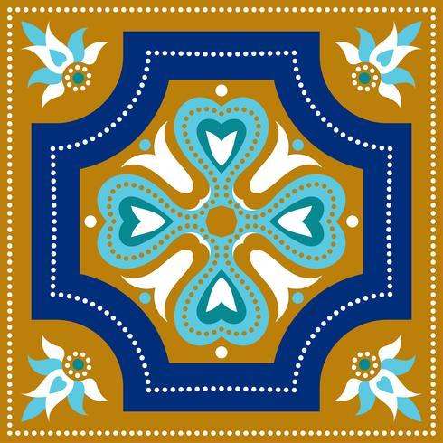Portugiesische Azulejo-Fliesen. Blauer und weißer herrlicher nahtloser Patte. vektor