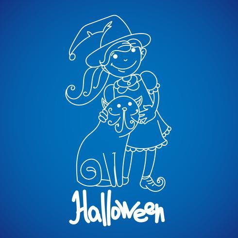 Barn klädda för att fira Halloween vektor