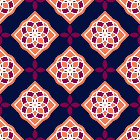 Portugiesische Azulejo-Fliesen. Rote und weiße wunderschöne nahtlose Muster. vektor