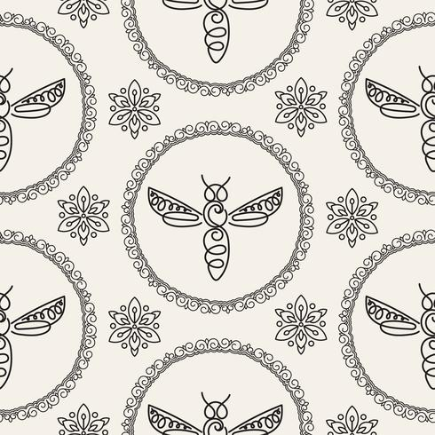 Seamless mönster med Bee vektor