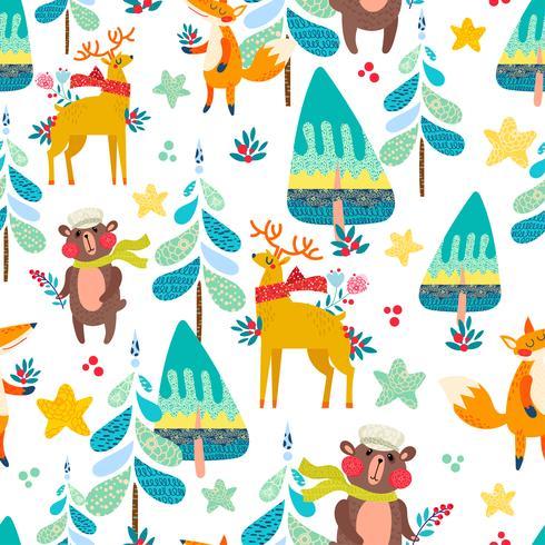Vinter sömlösa mönster med en julskog. vektor