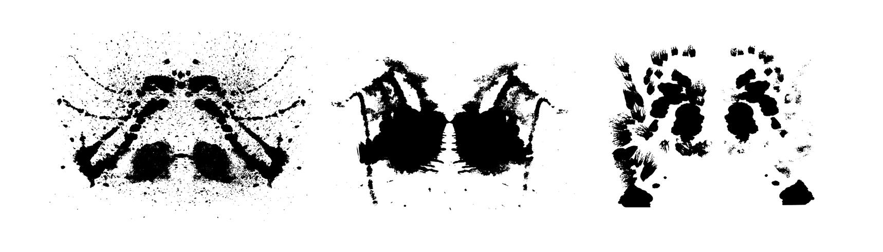 Rorschach Inkblot-Test symmetrische abstrakte Tintenflecken vektor