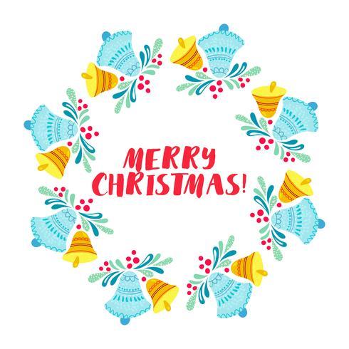 Weihnachtskranz lokalisiert auf weißem Hintergrund vektor