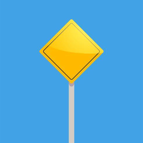 Vägskylt gul på en blå bakgrund vektor