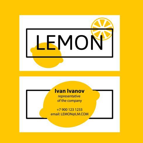 Visitkort citron i en platt stil. vektor