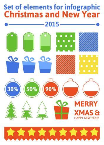 Legen Sie Elemente Weihnachten Infografik in flachen Stil vektor