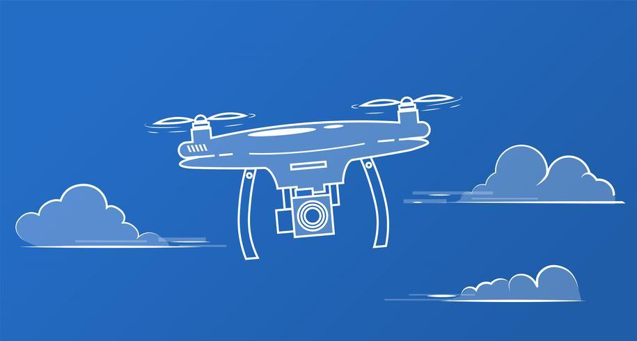 Flyga drone med en kamera på himlen bland molnen vektor