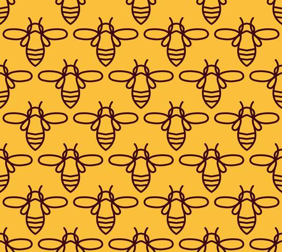 Nahtloses Muster mit orange Bienen in der Monoline Art. vektor