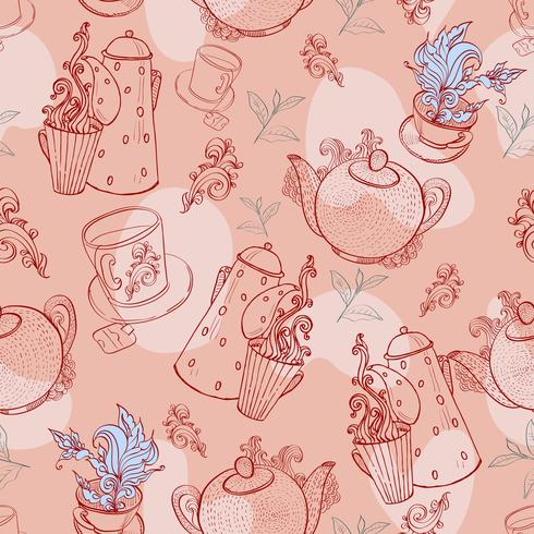 Vintage Tee Porzellan. nahtloses Muster vektor