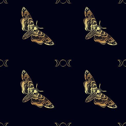 Butterfly Deaths huvudhökmoth sömlöst mönster vektor
