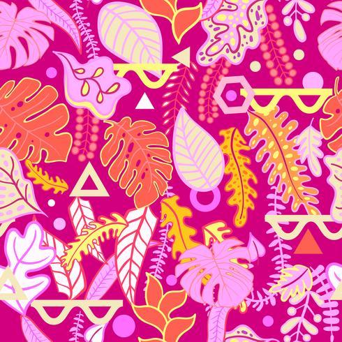 Tropiska levande tropiska löv sömlösa mönster. vektor