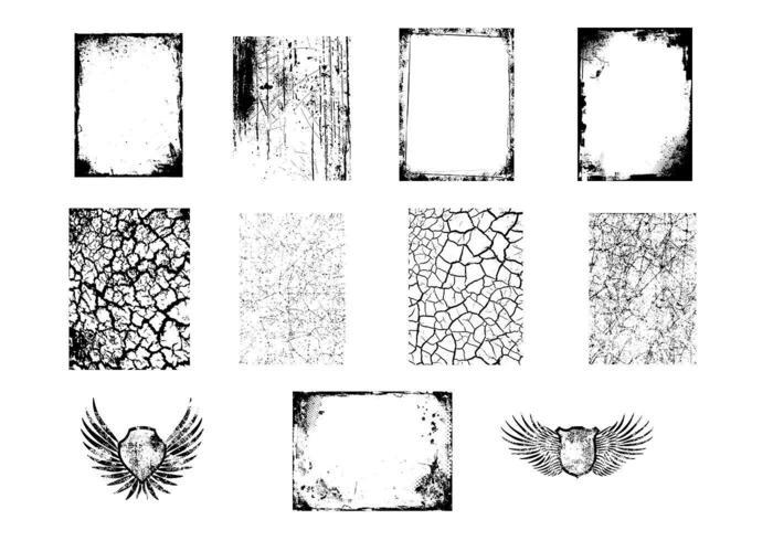 grungy texturer och vingar vektorpack vektor