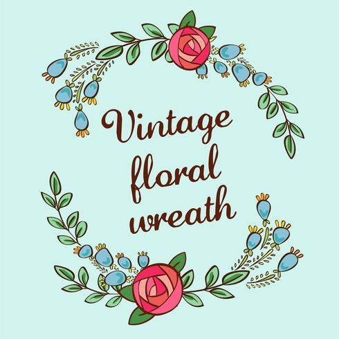 vintage blomkrans vektor