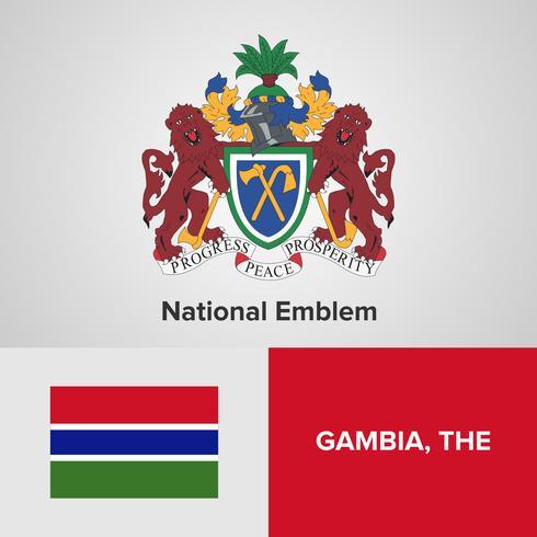 Nationellt emblem, karta och flagga vektor