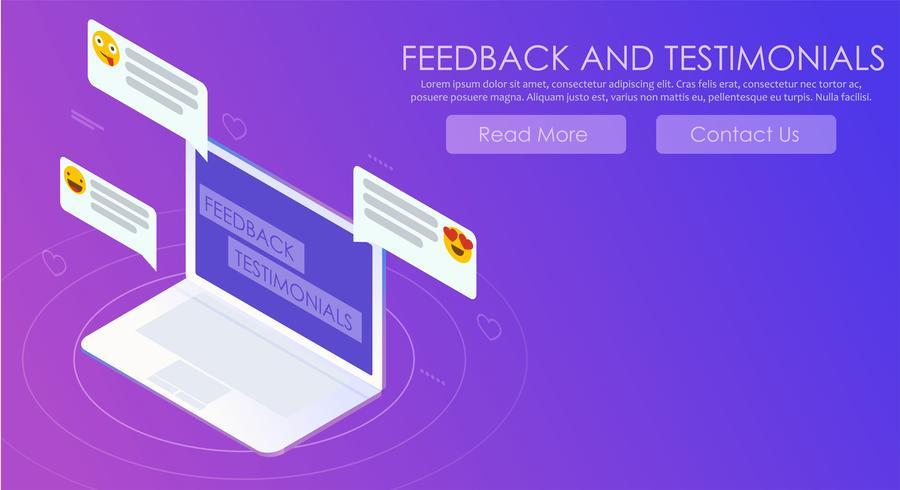 Feedback och testimonials gradient banner vektor