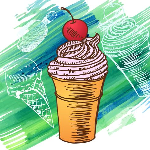 Doodle glass frusen efterrätt stil skiss vektor
