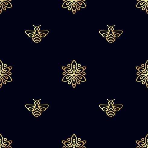 Nahtloses Muster mit Goldbiene vektor
