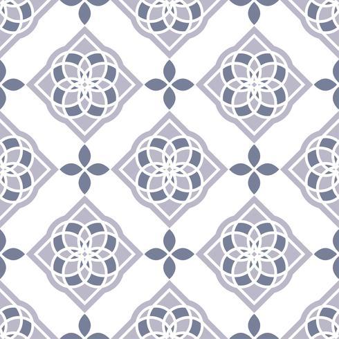 Portugiesische Azulejo-Fliesen. Blaue und weiße wunderschöne nahtlose Muster. vektor
