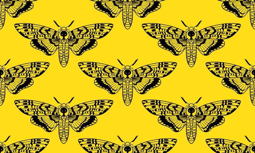 Nahtloses Muster der Schmetterlings-Todeshawk-Motte vektor