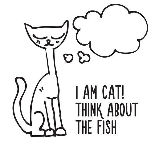 tecknad katt med tankebubbla vektor