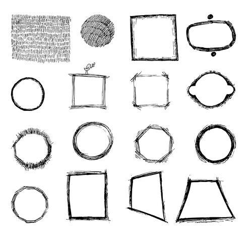 Geometriska former frihand, kläckning. vektor