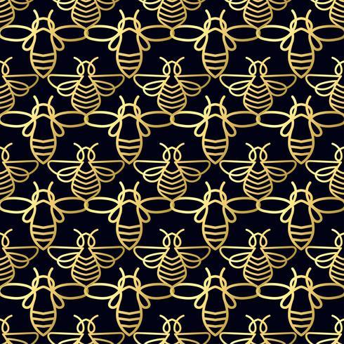 Seamless mönster med guldbi vektor