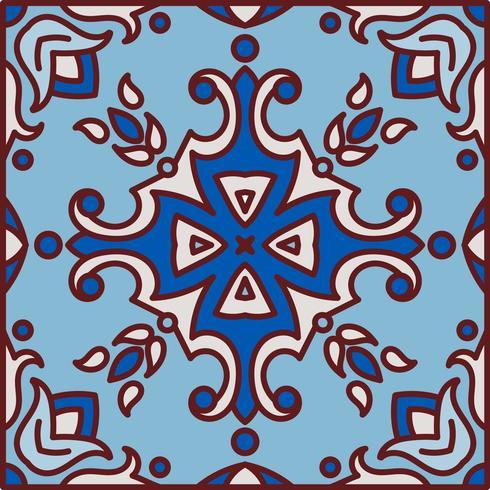 Portugiesische Azulejo-Fliesen. Blauer und weißer herrlicher nahtloser Patte vektor