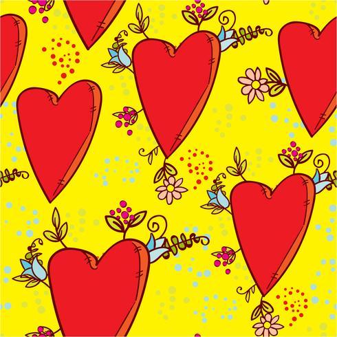 Seamless mönster med hjärtan och blommor med en grafisk skiss i doodle-stil vektor