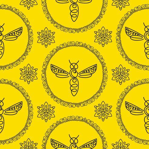 Nahtloses Muster mit Biene vektor
