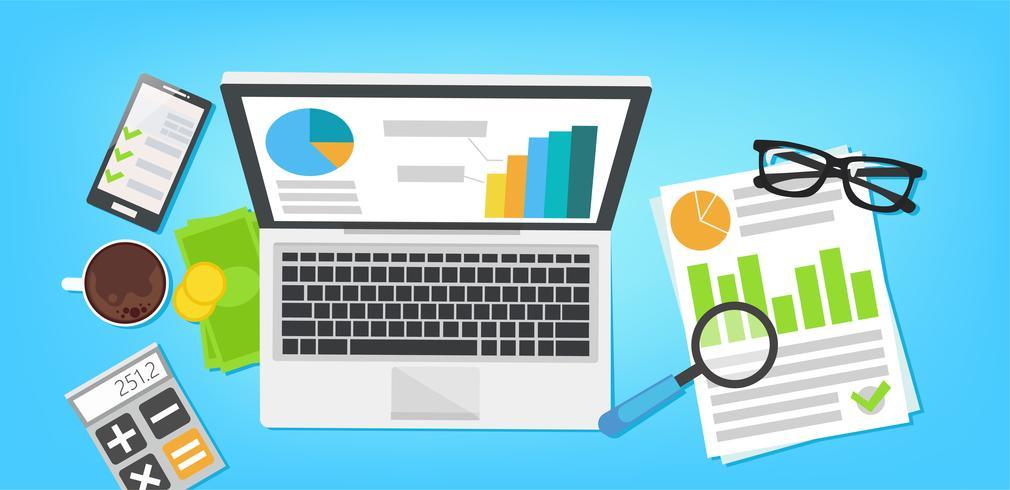 Designkonzept der Big Data-Analyse des Geschäfts vektor