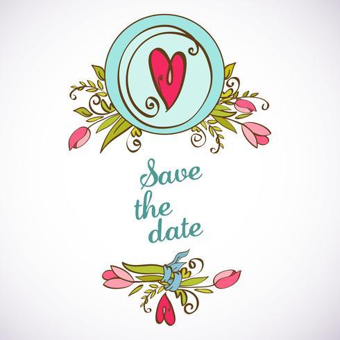 Hochzeitseinladung speichern die Datumskarten vektor