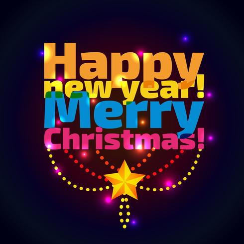 Inschrift Frohes neues Jahr und Weihnachten, vektor