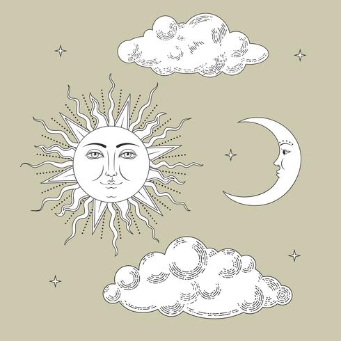 Sammlungen einstellen. Hand gezeichnete Sonne und der Mond mit Wolken und Sternen. Als Gravur stilisiert. Vektor