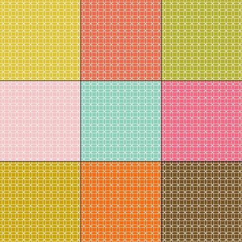 weiße ineinandergreifende Kreismuster auf Retro-Farbhintergründen vektor