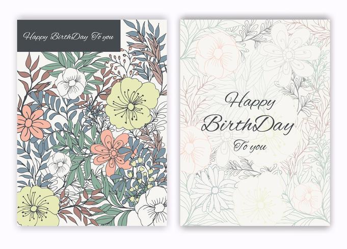 Blommor handgjorda ram för en födelsedag inbjudan vektor