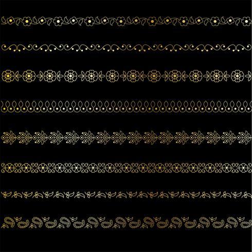 Goldpaisley-Grenzmuster vektor