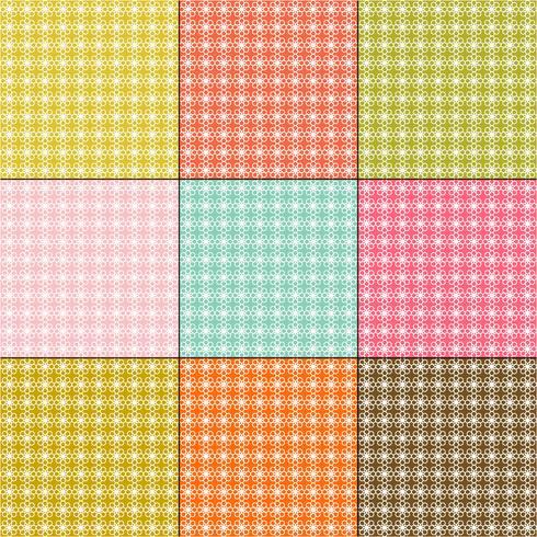 weiße Gänseblümchenmuster auf Retro- Farbhintergründen vektor