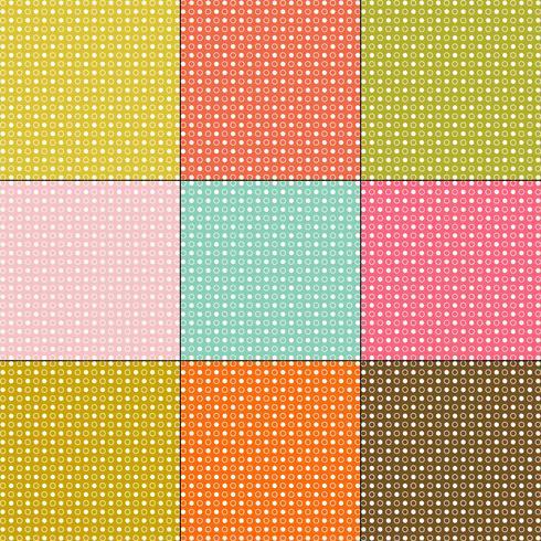 weiße Tupfenmuster auf Retro-Farbhintergründen vektor