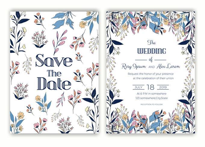 Blommor handgjorda ram för en bröllopsinbjudan vektor