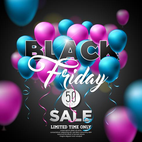 Black Friday-Verkaufs-Vektor-Illustration mit glänzenden Ballonen auf dunklem Hintergrund. Promotion Design-Vorlage für Banner oder Poster. vektor