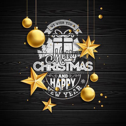 Vektor jul illustration med typografi och guld glas bollar på vintage trä bakgrund. Vektor helgdag illustration.