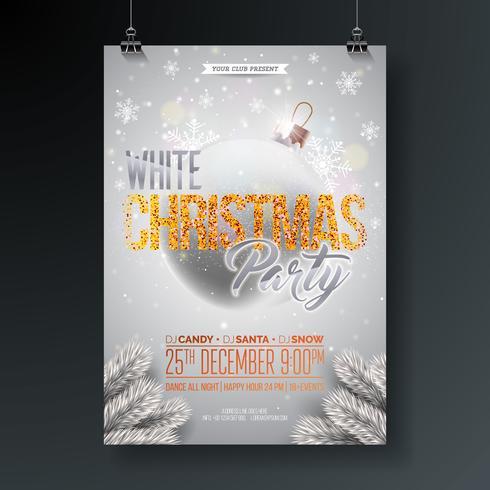 Weiße Weihnachtsfest-Flieger-Illustration mit funkelnden Typografie-Elementen und dekorativem Ball auf glänzendem Hintergrund. Vektor-Feier-Plakat-Design. vektor