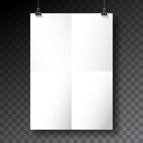 Vektor affisch mockup mall med vikta pappersark på transparent bakgrund.