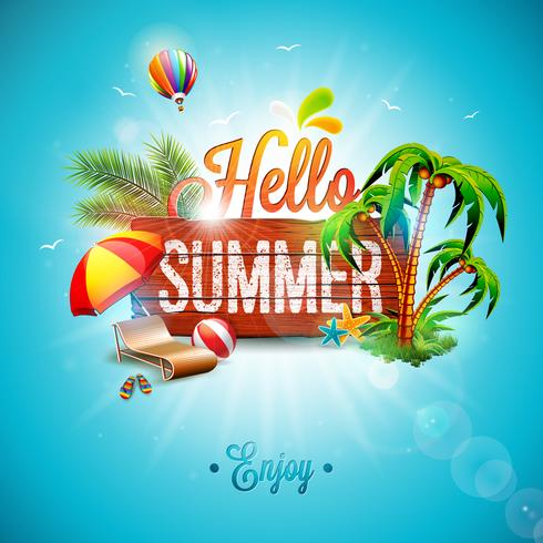 Vektor Hello Summer Holiday typografisk illustration på vintage trä bakgrund. Tropiska växter, blomma, strandboll, luftballong och solskydd med blå himmel. Designmall