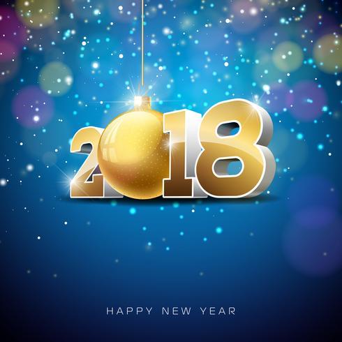 Vector guten Rutsch ins Neue Jahr-Illustration 2018 auf glänzendem Beleuchtungs-Hintergrund mit Typografie-Design.